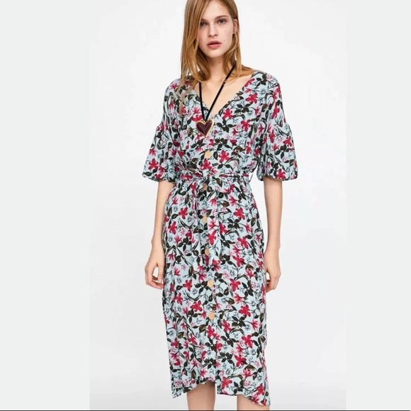 29d6531b Zara Dresses   Belted Floral Print Midi Dress   Poshmark
